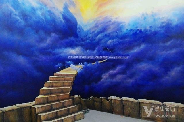 讲效率沙发背景手绘壁画