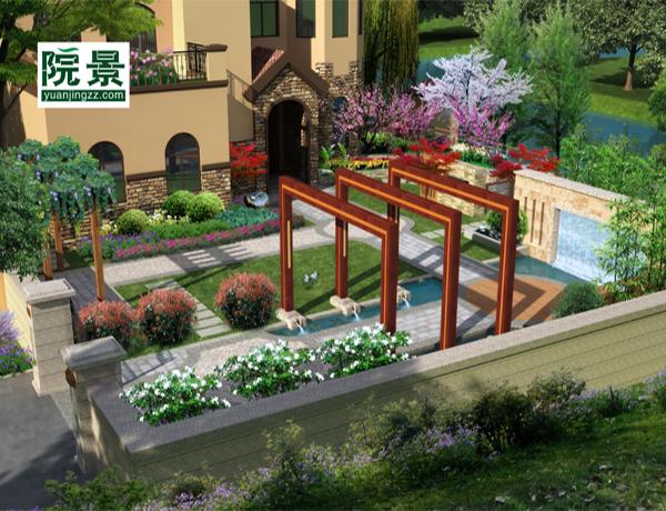 这个花园的位置是位于别墅的露台,地面使用防腐木铺设,在靠墙一边使用图片